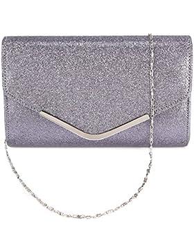 Glitter Damentasche Handtasche Clutch Abendtasche Brauttasche Umhaengetasche