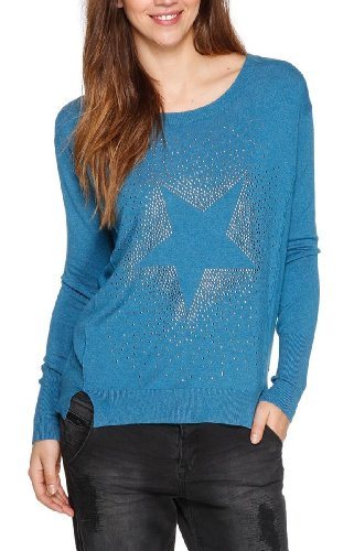 QS by s.Oliver Pull-over Manches longues Femme Bleu - Blau (64W0)