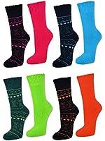 6 Paar Damen THERMO Socken in Neon Farben mit Innenfrottee - ohne Gummidruck - 38215 - sockenkauf24