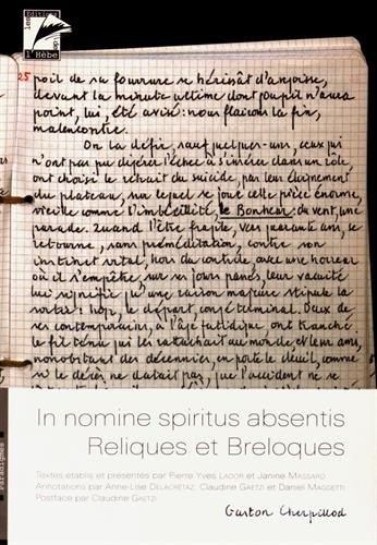 In nomine spiritus absentis : Reliques et breloques