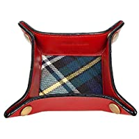 Gents Ladies Red Leather Valet Coin Jewellery Tray with Genuine Tartan Lining (Small)