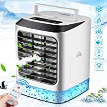 Personal Air Cooler, Portable Mini Air Conditioner, 4 in 1 Evaporative Coolers, Humidifier, Purifier, 7 Colors LED Night, 3 Speeds Desktop Cooling Fan, Remote Control,for Home Office Dorm(480ML)