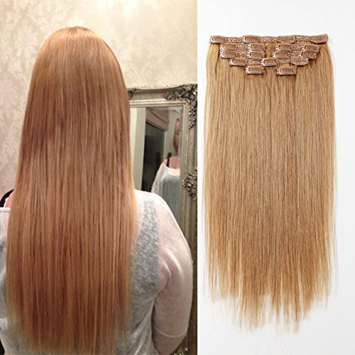 Clip In Hair Extensions gerade blonde Remy Echthaar mit Doppel-Tresse, seidig Clip in Hair Extensions Echthaar 9 A Grade 27 # Farbe (85 g, 45,7 cm) (16 inches (27 color))