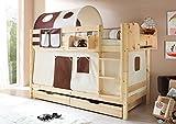Etagenbett Jamie inkl Vorhang Kiefer massiv EN 747-1 + 747-2 Stockbett Doppelbett Spielbett Kinderbett Bett Kinderzimmer Hochbett