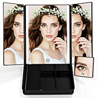 Abody Makeup Mirror 7X Magnifying Tri-fold Vanity Mirror with Storage Box LED Illuminated Cosmetic Mirror Lighted Makeup Mirror