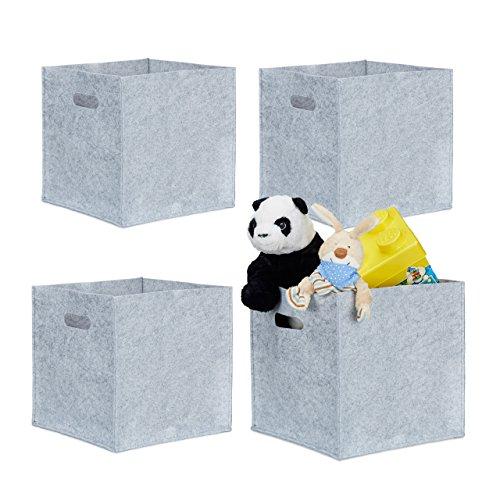 4er Set quadratische Filzkörbe, faltbar, mit 2 Trageöffnungen, schicke Regalkörbe, H x B x T: 30 x 30 x 30 cm (Grau) (Aufbewahrungsbox Quadratische)