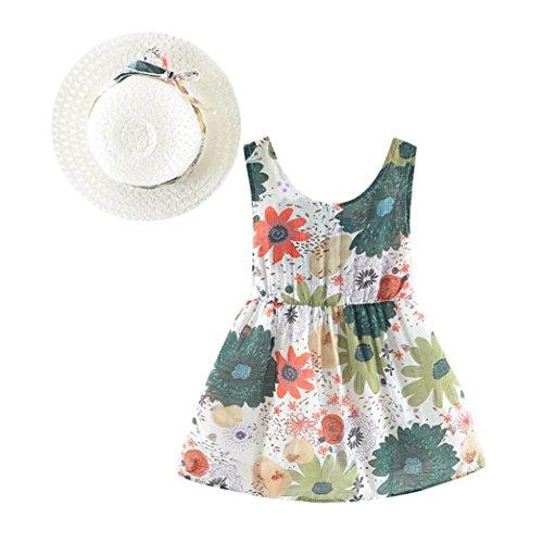 Zurück Frei Outfits Schmetterling Kleider/1 Set Mädchen Kleider/Babykleidung Tops+Shorts/Strandkleid Minikleid/6-2Jahr (100, Grün-Mit Hut) (Grüne Spitze Hüte)