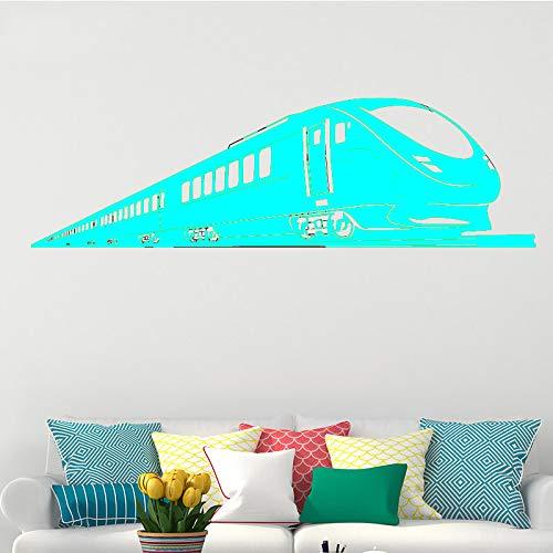 Ajcwhml Moderne Zug personalisierte wandaufkleber tapete Aufkleber Muster Junge Zimmer abnehmbare Vinyl wandaufkleber Dekoration 蓝色 43 cm X 145 cm