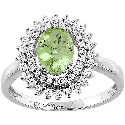 Revoni 14ct oro Natural Oval 8 x 6 mm Peridot anillo de diamantes de doble Halo