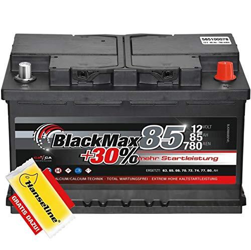 Starterbatterie 12V 85Ah BlackMax Autobatterie statt 74Ah 75Ah 80Ah inklusive Polfett