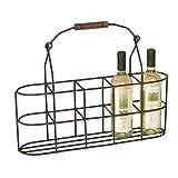 Flaschenträger aus Metall für 5 Flaschen mit Holzgriff- platzsparende Alternative zu gängigen Flaschenhaltern für 6 Flaschen durch schmales Design - ideal als Flaschenkorb für kleine Küchen
