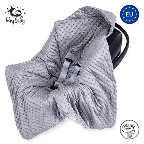 Einschlagdecke Babyschale Winter - Babydecke Kinderwagen Decke für Winter Fußsack Grau mit Sternen Baumwolle Minky 90cm x 90cm