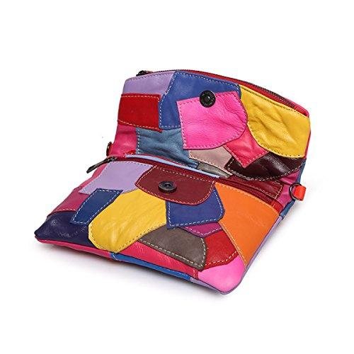 Frauen PU-lederner Schulter-Kurierbeutel-Kettenkreuz-Körperheftungsbeutel-Totehandtaschenumschlagbeutel Multicolor