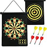 MAGNETIC DARTBOARD ROLL UP WITH 6 MAGNET DARTS DOUBLE SIDED KIDS DART BOARD GAME Fusion (TM)
