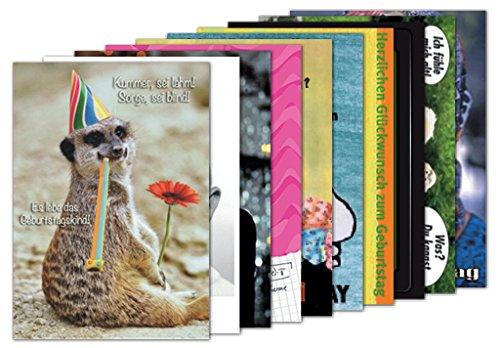 10er-Set: Postkarten A6 +++ MIX SET Nr. 1 von modern times +++ 10 schöne GEBURTSTAGS-Motive +++