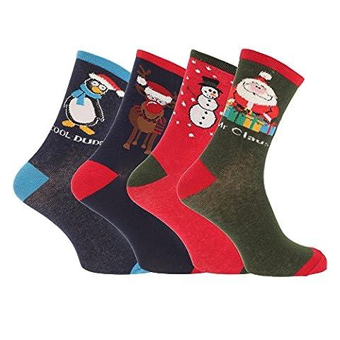 Mens Christmas Novelty Socks (Assorted Pack Of 3) (UK Shoe 7-11, EUR 41-46) (Assorted)
