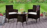 Comfy Living 3pc Rattan Bistro Garden Furniture Set (Without Cover, Brown)