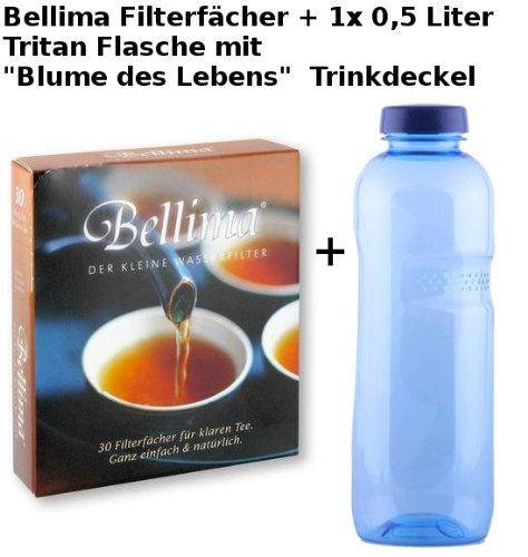 Bellima Filterfächer(30St.) mit 1 x 0,5 Liter Flasche Tritan inklusive 'Blume des Lebens'...