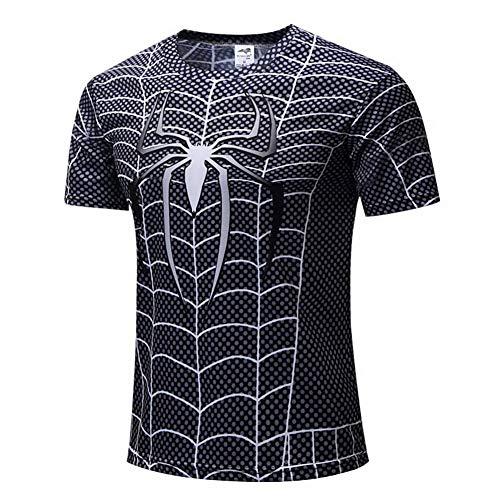 HOOLAZA Spiderman Blau Blue Männer Kurzarm Kompression Herren T Shirt Fitness Sport Gym -