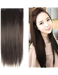 TRIXES Extensions cheveux lisses 58 cm une seule pièce tête entière brun foncé.