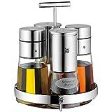 WMF Menage-Set 5-teilig Dosierer Salzmühle Pfeffermühle Ständer De Luxe Cromargan Edelstahl rostfrei Glas spülmaschinengeeignet