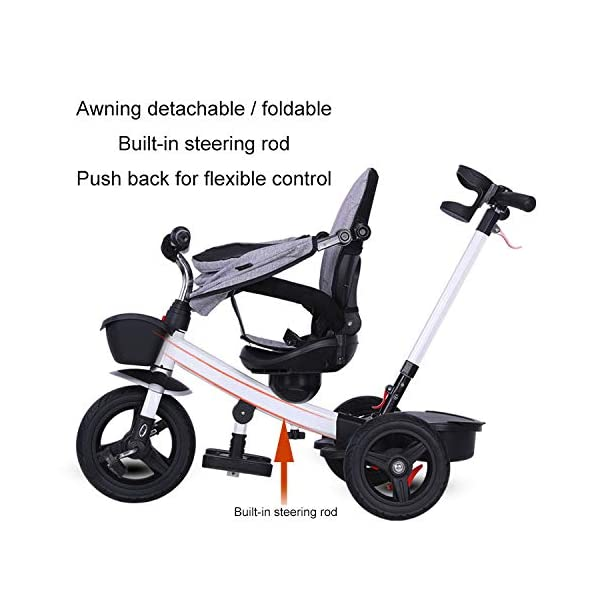 BGHKFF 4 In 1 Childrens Tricycles 1 To 5 Years 360° Swivelling Saddle 2-Point Safety Belt Children's Pedal Tricycle Folding Sun Canopy Children's Hand Push Tricycle Maximum Weight 50 Kg,Green BGHKFF ★Material: High carbon steel frame, suitable for children aged 1-5, maximum weight 50 kg ★ 4 in 1 multi-function: can be converted into a stroller and a tricycle. Remove the hand putter and awning, and the guardrail as a tricycle. ★Safety design: golden triangle structure, safe and stable; 2 point seat belt + guardrail; rear wheel double brake 6