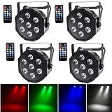 UKing 4pcs LED Par Licht 7 LED Strahler DMX Bühnenlicht Disco Lichteffekte RGBW...