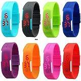 Neo Gold Leaf Red Star Unisex Silicone Jelly Slim Set - 8 Sports Digital Led Bracelet Band Watch (Multi Color)