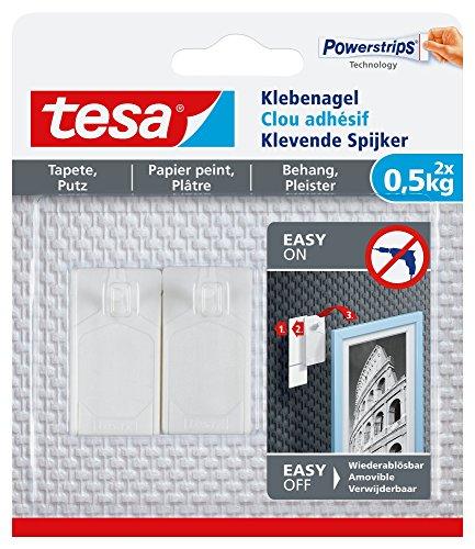 tesa Klebenagel für Tapeten und Putz, 0,5 kg Halteleistung, 2 Stück (Trockenen Kleben Nagel)