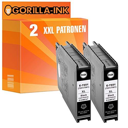 Gorilla-Ink 2 Printer Cartucce XXL Nero GI7551 compatibile per Epson WF-8000 WF-8010 DW WF-8090 DTW WF-8510 TC WF-8590 DTWFC WF-6530 MFP ogni 130ml