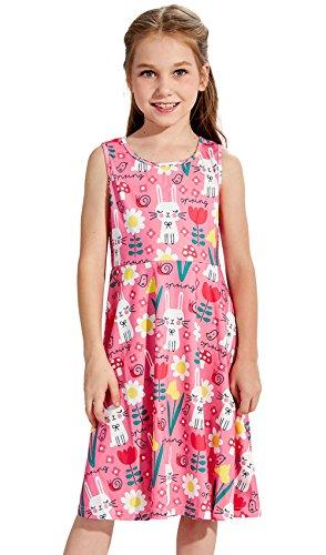 leid Rabit Blume Vogel Print Kleid Kinder ärmelloses Kleid GR 2-7 Jahre (Vogel Nase)