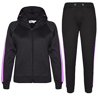 A2Z 4 Kids® Girls Boys Tracksuit Plain Contrast Fleece Hooded Hoodie Bottom - T.S 102 Black & Lilac 13