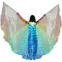Dance Fairy Danza del Vientre Alas del LED Isis con Palos / Varillas,Rojo-