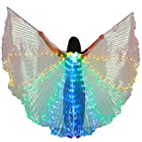 Dance Fairy Bauchtanz LED Bunte Isis Flügel mit Flexiblen Stöcken Stangen (Rot-Gelb-Grün-Blau)