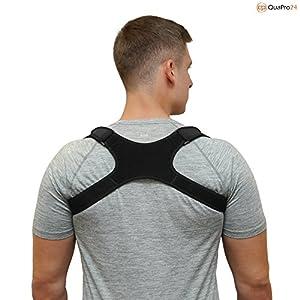 QuaPro24 – Geradehalter zur Haltungskorrektur für eine aufrechte Körperhaltung – Rückenbandage für Damen und Herren – Rückenstabilisator gegen haltungsbedingte Rücken- und Nackenschmerzen