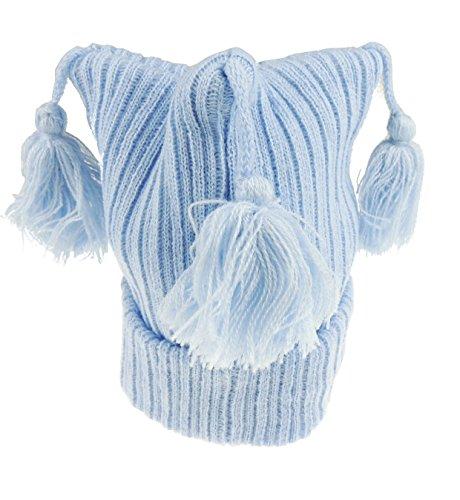 Baby Jungen Mädchen Gerippter Grobstrick Tri Top Quaste Winter Turn Up Hat Gr. 50, blau (Gerippt Tri)