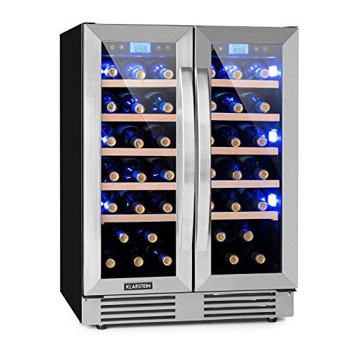 Wein-kühler Aus Holz (Klarstein Vinovilla Duo42 • Weinkühlschrank • Getränkekühlschrank • Volumen: 126 Liter • 2 x 5 Holzeinschübe • Touch-Bediensektion • LED-Innenbeleuchtung in 3 Farben wählbar • 2 Kühlzonen • schwarz)