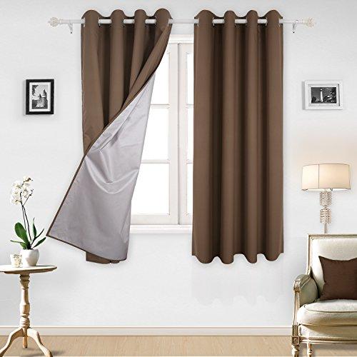 Deconovo tende oscuranti termiche isolanti tende da sole per casa moderna 100% poliestere 140x180 cm cachi scuro due pannelli
