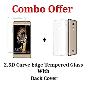"M.G.R.J Transparent Back Cover + Tempered Glass ( Combo Pack ) For Coolpad Note 5 Lite (5"" inch)"