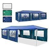 Hengda® Stabiles Hochwertiges Festzelt Wasserdicht Stahlkonstruktion Hochwertiger Gartenzelt Partyzelt Camping SeitenteilenReißverschluss, 3 X 9 m, blau