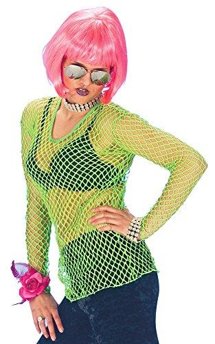 Neon Netz Shirt Grün - Tolles Hemd in Netzoptik für Rocker, Bad Taste oder Disco Kostüme Karneval oder (80er Make Up Kostüm Jahre)