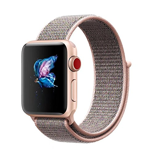 Tervoka Für Apple Watch Armband 38mm(40mm Series 4), Gewobenes Nylon Sport Schlaufe Handgelenk Uhrband Ersatz Armreif Uhrenarmband für iWatch Apple Watch 38mm 40mm Series 4/3/2/1, Sandrosa