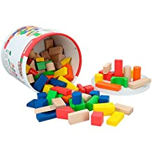 ColorBaby - Cubo 100 bloques de madera (40993)
