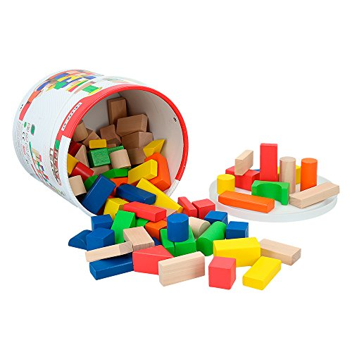 ColorBaby - Cubo 100 bloques de madera Play&Learn (40993)