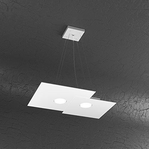 Plate Lustre moderne métal blanc 2 lumières LED rectangulaire 1129/S2 r-bi
