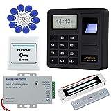 HFeng Sistema de control de acceso de la puerta de la huella dactilar Teclado biométrico RFID + 180KG Bloqueo magnético + 10pcs EM4100 Etiquetas clave para el hogar/oficina/apartamento