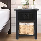 FGHGFCFFGH 2pcs Shabby Chic Storage Organizer Wooden Bedside Table Cabinet with Wicker Cabinet Wardrobe Standing Clothing Drawer