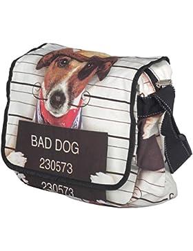 Baumwolle Umhängetasche Schultertasche Medium Damen Hundemotiv Messenger Bag