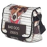 Unisign Baumwolle Umhängetasche Schultertasche Medium Damen Hundemotiv Messenger Bag