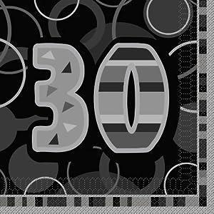 Unique Party- Paquete de 16 servilletas de papel de 30 cumpleaños, Color negro, Edad (28480)